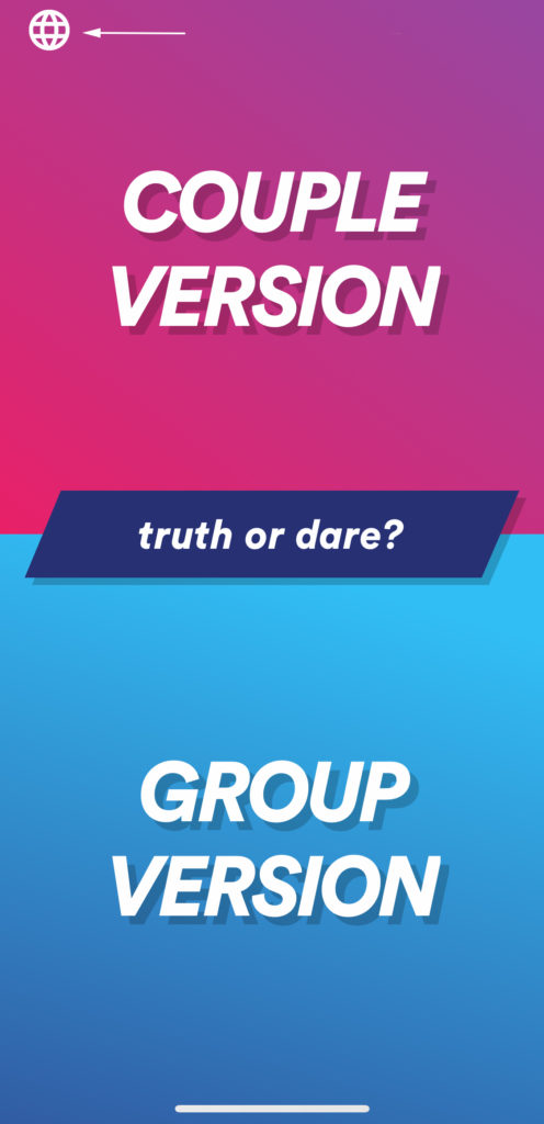 Vue d'accueil d'action ou vérité avec le bouton pour changer de langue dans l'application